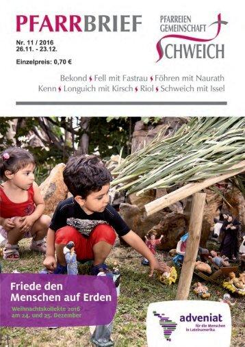 Pfarreiengemeinschaft Schweich - Pfarrbrief 11/2016