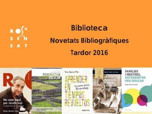 Novetats bibliogràfiques tardor 2016