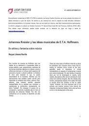 Johannes Kreisler y las ideas musicales de ETA Hoffmann. De ...