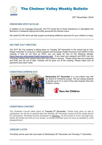 The Chelmer Valley Weekly Bulletin
