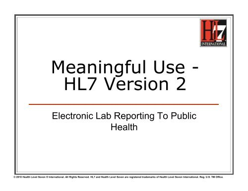 meaningful use - hl7 version 2