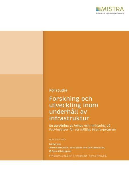 Forskning och utveckling inom underhåll av infrastruktur