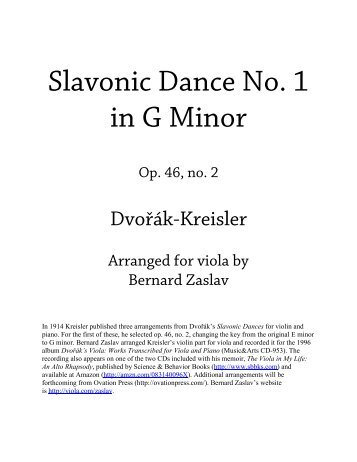 Dvořák-Kreisler Slavonic Dance No. 1 Piano Part - The American ...