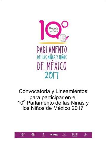 para participar en el 10 Parlamento de las Niñas y los Niños de México 2017