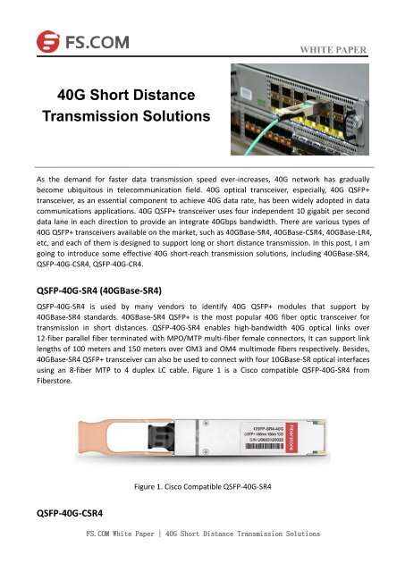 40G Short Distance Transmission Solutions