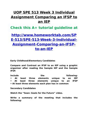 SPE 513 Week 3 Individual Assignment Comparing an IFSP to an IEP ...
