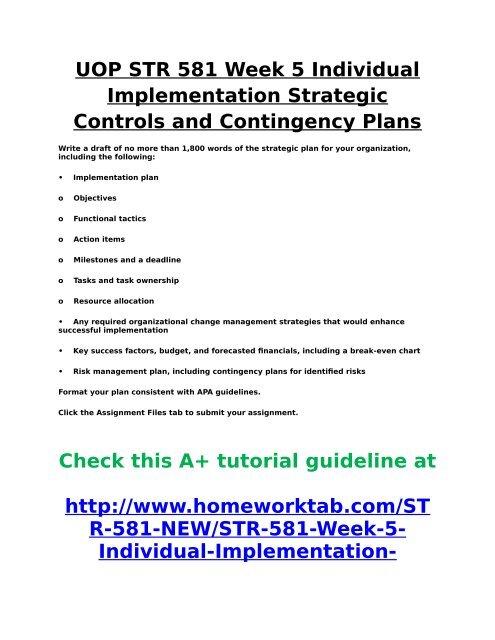 UOP STR 581 Week 5 Individual Implementation Strategic