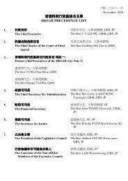 香 港 特 別 行 政 區 排 名 名 單 HKSAR PRECEDENCE LIST
