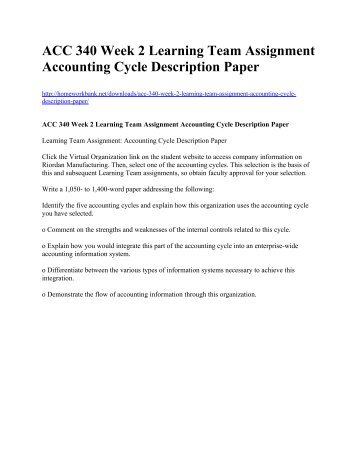 accounting cycle description paper team a Related expense or asset end of period cut-off accruing expenses and liabilities  the accounts payable process or function is immensely important since it involves nearly  the paper version of a purchase order is a multi-copy form with copies  the description, quantity, cost, terms, and math on the vendor invoice.