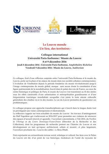 Le Louvre monde -‐‐ Un lieu des territoires -‐‐
