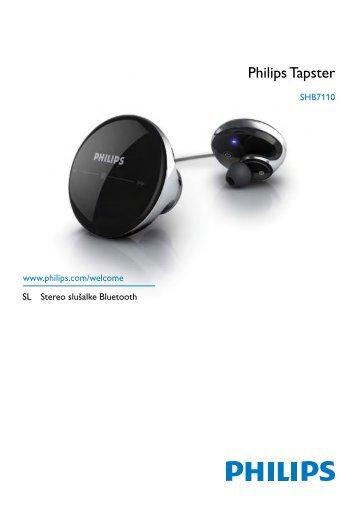 Philips Tapster Casque stéréo avec micro Bluetooth - Mode d'emploi - SLV