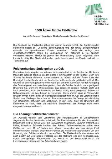 Feldlerchenfenster - Kreislandvolkverbandes Vechta eV