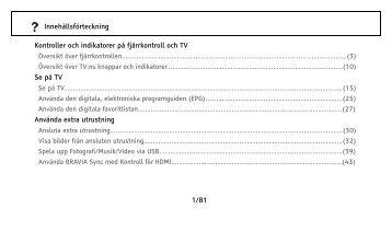 Sony KDL-37EX402 - KDL-37EX402 Istruzioni per l'uso Svedese