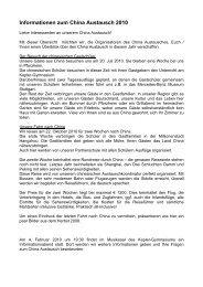 Informationen zum China Austausch 2010 - Kepler-Gymnasiums