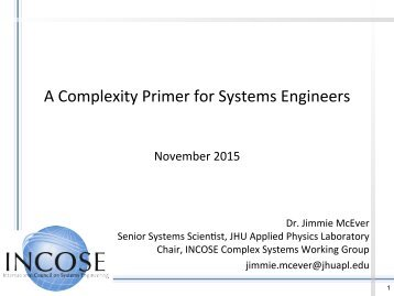 A Complexity Primer for Systems Engineers