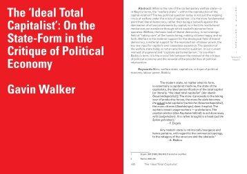 Critique of Political Economy Gavin Walker