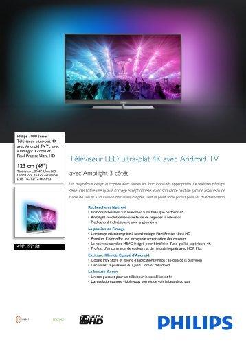 Philips 7000 series Téléviseur ultra-plat 4K avec Android TV™ - Fiche Produit - FRA
