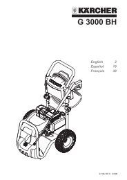 Karcher G3000-BH Pressure Washer Manual
