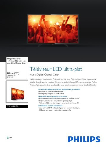 Philips TV LED Philips 32PHH4101 200 HZ - fiche produit