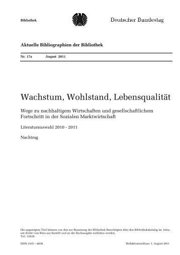 Aktuelle Bibliographien der Bibliothek - Deutscher Bundestag