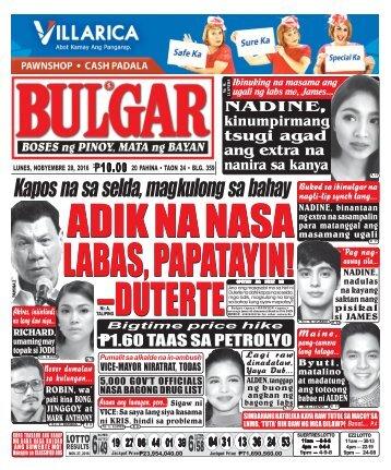 November 28, 2016 BULGAR: BOSES NG PINOY, MATA NG BAYAN