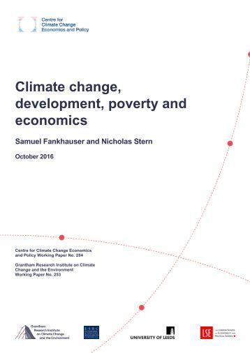 Climate change development poverty and economics
