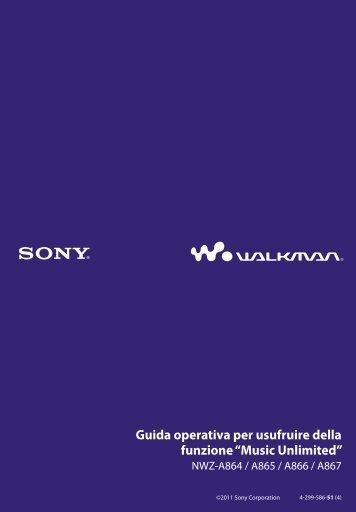 Sony NWZ-A866 - NWZ-A866 Istruzioni per l'uso