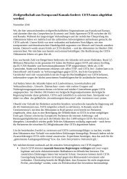 Zivilgesellschaft aus Europa und Kanada fordert CETA muss abgelehnt werden!