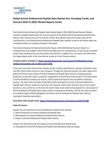 Global Animal Antibacterial Peptide Sales Market