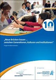 """""""Neue Brücken bauen ... zwischen Generationen, Kulturen und ..."""