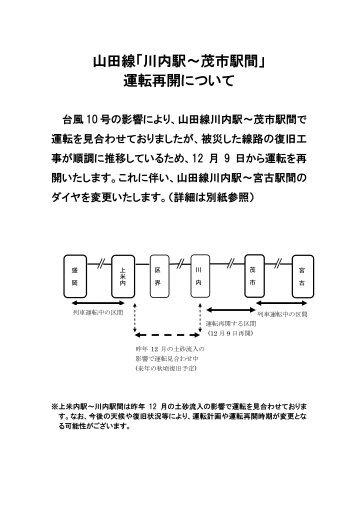 山 田 線 「 川 内 駅 ~ 茂 市 駅 間 」 運 転 再 開 について