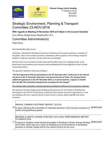 Strategic Environment Planning & Transport Committee 23-NOV-2016