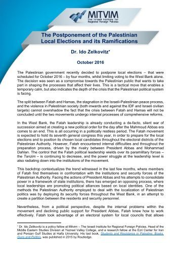 The Postponement of the Palestinian Local Elections and its Ramifications