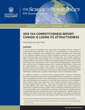 2015 TAX-COMPETITIVENESS REPORT CANADA IS LOSING ITS ATTRACTIVENESS