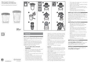 Philips Avent Pot de conservation pour lait maternel - Mode d'emploi - SRP