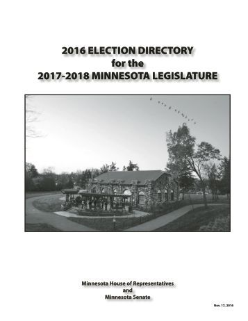 2016 ELECTION DIRECTORY for the 2017-2018 MINNESOTA LEGISLATURE