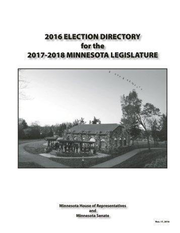 2016 ELECTION DIRECTORY for the 2017-2018 MINNESOTA LEGISLATURE