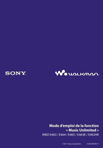 Sony NWZ-E463HK - NWZ-E463HK Istruzioni per l'uso Francese