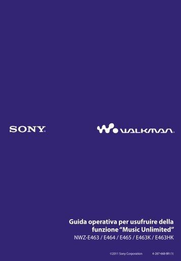 Sony NWZ-E463HK - NWZ-E463HK Istruzioni per l'uso Italiano