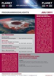 PROGRAMMHIGHLIGHTS JULI 2011 - Planet