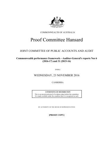 Proof Committee Hansard