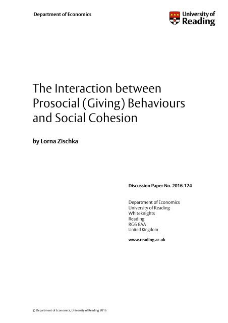 Prosocial (Giving) Behaviours and Social Cohesion