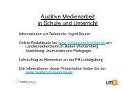 Auditive Medienarbeit in Schule und Unterricht - Mediaculture online