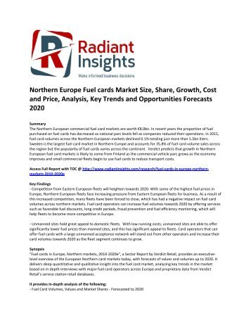 Northern Europe Fuel cards Market Size, Growth, Cost and Price, Analysis, Key Trends and Opportunities Forecasts 2020