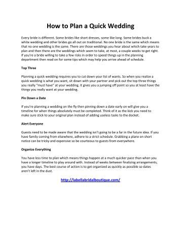 How to Plan a Quick Wedding