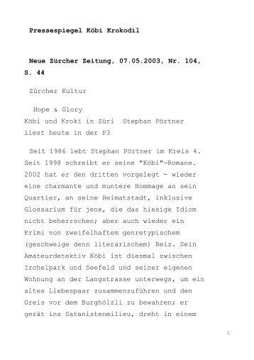 Pressespiegel Köbi Krokodil Neue Zürcher ... - Stephan Pörtner