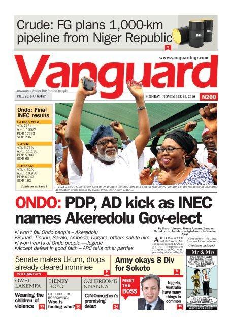 ONDO: PDP, AD kick as INEC names Akeredolu Gov-elect