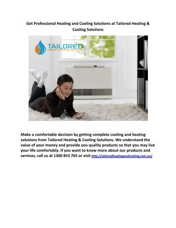 Get Professional Heating and Cooling Solutions at Tailored Heating & Cooling Solutions