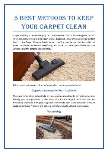 5 Best methods to keep your carpet clean