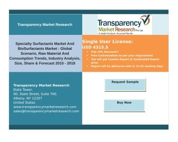 Specialty Surfactants Market And BioSurfactants Market:Size,Share & Forecast 2010-2018